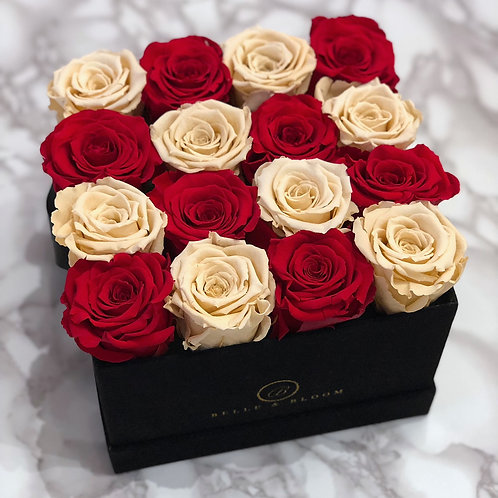 Infinity Bisou Box - 16 Rose - Checkered