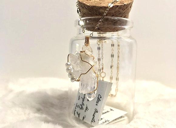 Clear Quartz w/4 Pearls Necklace