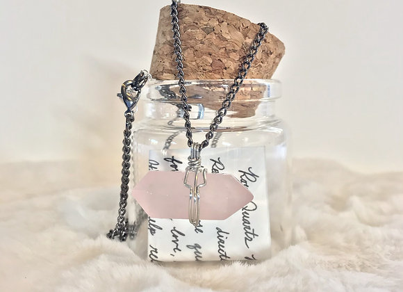 Double Terminated Rose Quartz Necklace