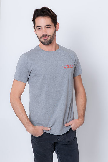 TIMY - Tee shirt gris chiné homme