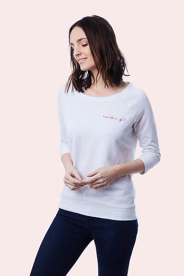 women sweatshirt organic cotton and tencel Mountain Girl embroidery