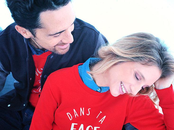unisex cut sweatshirt in organic cotton Dans Ta Face exclusive design by mountain girl