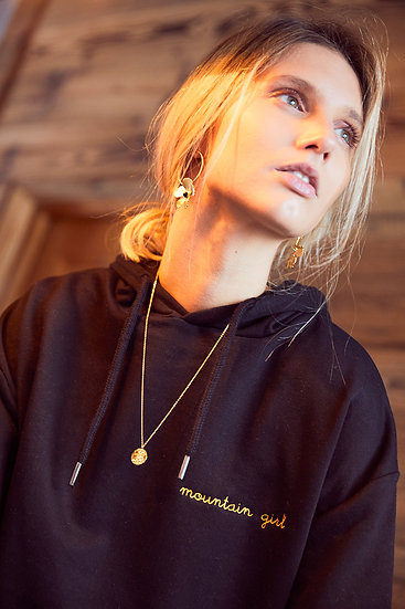 women hoodie sweatshirt organic cotton crop with Mountain Gir gold thread embroidery