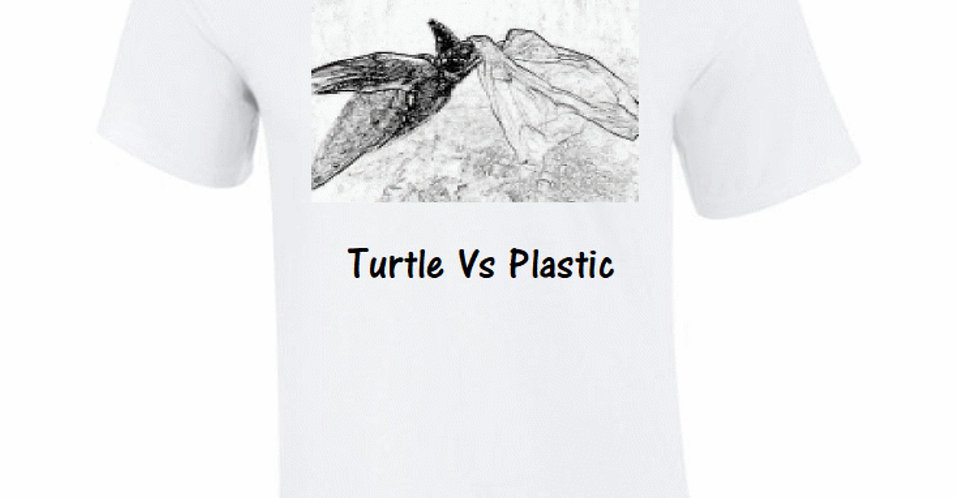 Turtle Vs Plastic Organic White T-Shirt