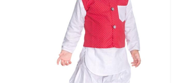 Fancy Silk Cotton Kurta Kid's Boys Pyjama set