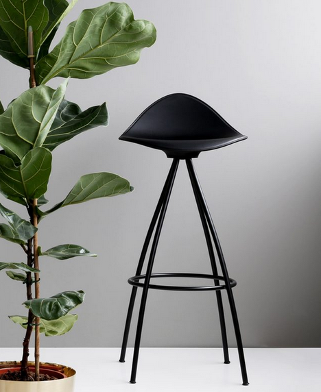 Onda Stool - black skin white shell, shiny chrome legs
