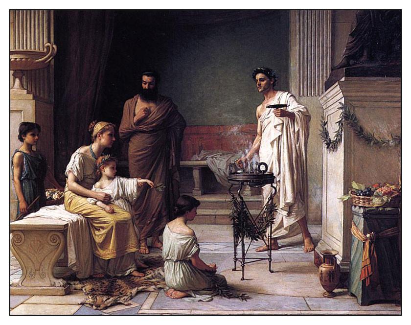 """John W. Waterhouse, """"Mamă aducându-și fiul bolnav la Templul lui Asklepios"""",  1877 (Image in public domain)"""