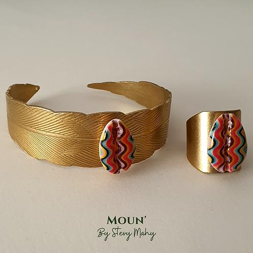 Parure : bague + bracelet cauris