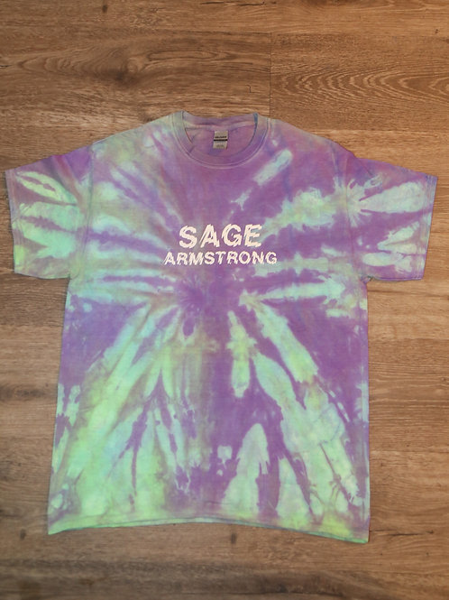 Sage Armstrong Logo print Tie Dye T shirt