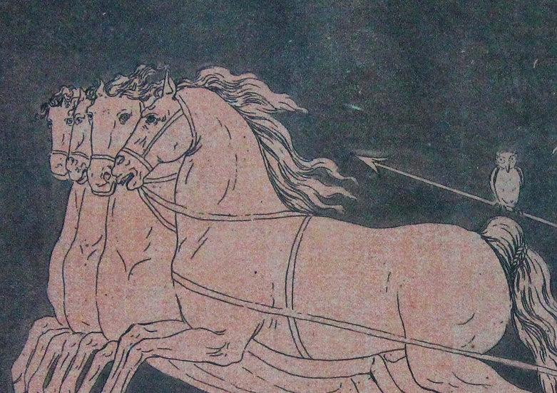 4+1 kolorierte Darstellungen von antiken  Vasenmotiven