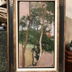 Landschaftsstudie mit Birken und Haus