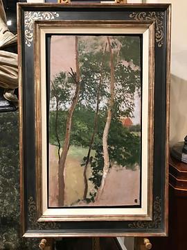 Otto Modersohn, Landschaftsstudie mit Birken und Haus