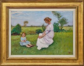 Otto Modersohn, Louise und Tille Modersohn im Gras sitzend