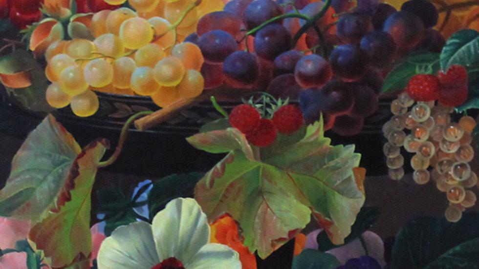 Üppiges Blumen- und Früchte-Stillleben in antiker Kylix, J. L. Jensen Schule
