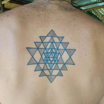 sri yantra handpoke tattoo