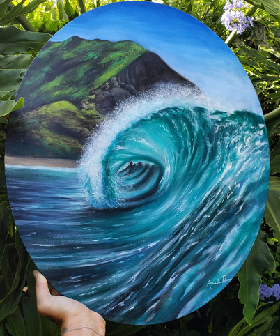 Custom oil wave painting on oval canvas