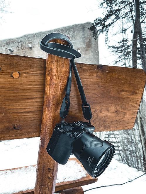 """Kamerariemen Trage/Schultergurt für alle Kamerahersteller """"Leder grau"""""""""""
