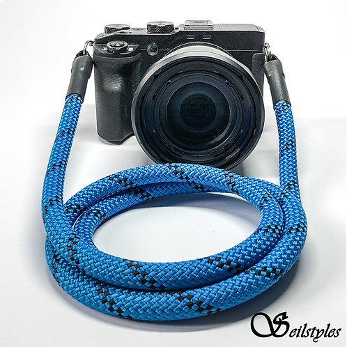 Kameraseil Trage/Schultergurt für alle Kamerahersteller Farbe blau/schwarz 10mm