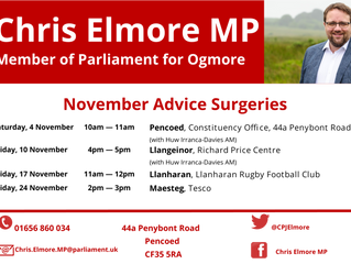 Ogmore MP Releases Next Round of Advice Surgeries