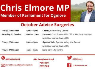Ogmore MP Announces Next Round of Advice Surgeries