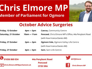Ogmore MP Announces Next Round of Advice Surgeries