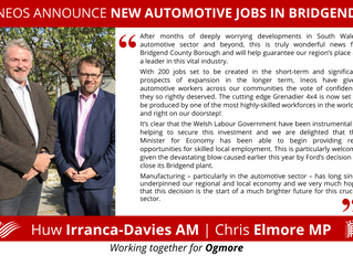 Chris Elmore MP and Huw Irranca-Davies AM Welcome Ineos Automotive Investment In Bridgend