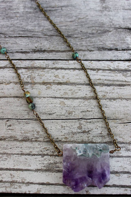 Amethyst & African Turquoise Necklace
