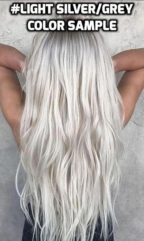 Clip In Light Silver Grey Ash Platinum Blonde