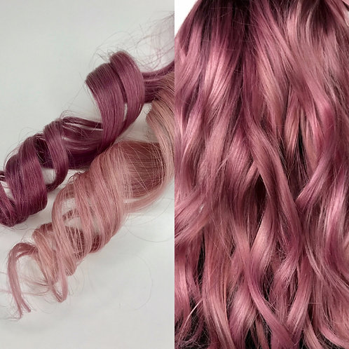 100% Human Hair Dusty Rose Pink Strip Clip-in extensions 1pc