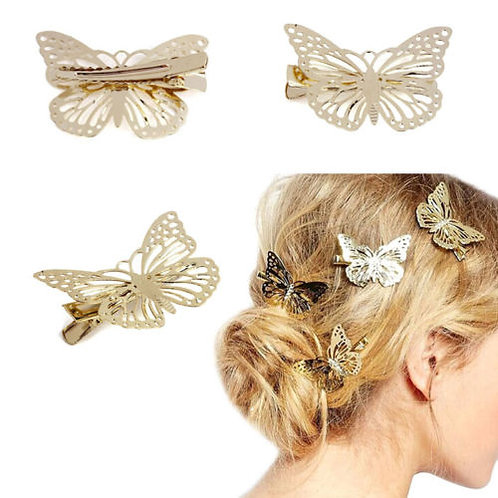 Gold Butterfly clips(a pair)