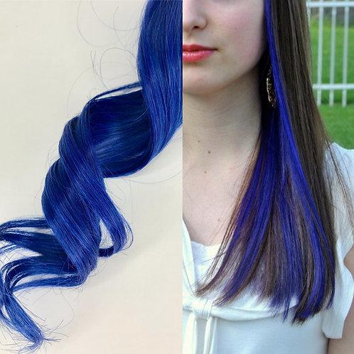 100% Human Hair Blue Strip Clip-in Extension