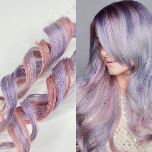 100% Human Hair Lavender & Dusty Rose Pink Strip Clip-in extensions SET