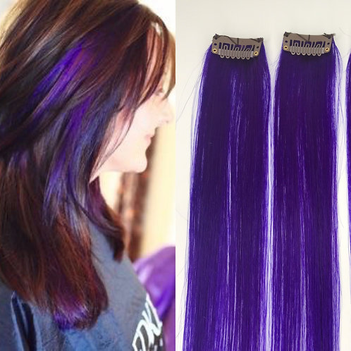 100% Human Hair Bright Purple Strip Clip-in extensions 1pc