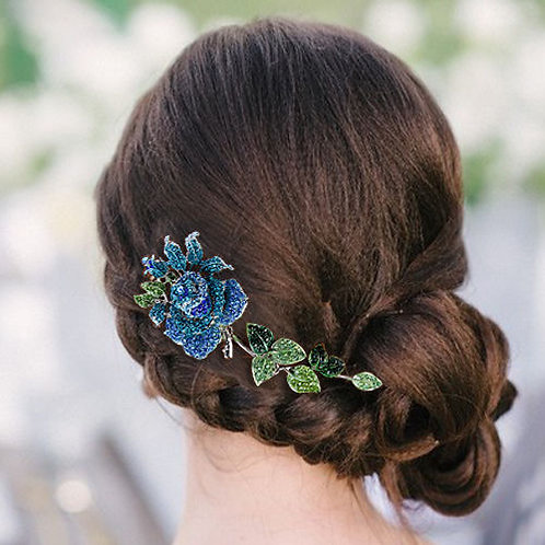 Blue Rose Crystal Hair comb