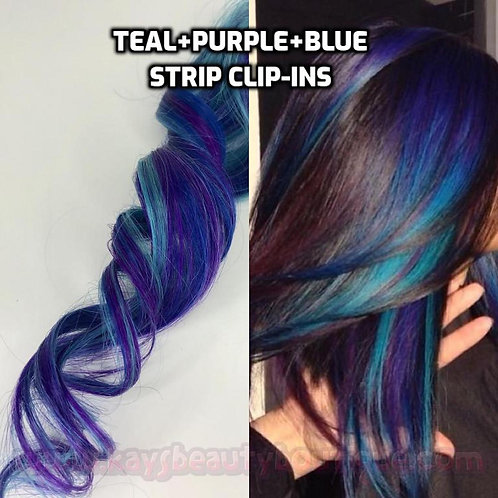 100% Human Hair Bright Turquoise Teal Purple Blue Strip Clip-in extensions strea