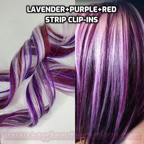 100% Human Hair Lavender Purple Burgundy Red Strip Clip-in extensions streaks 1p