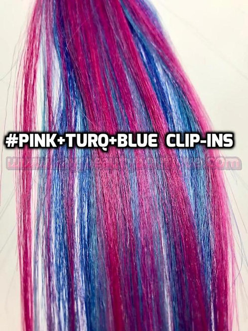 100% Human Hair Bright Pink Turquoise Blue Strip Clip-in extensions streaks 1pc