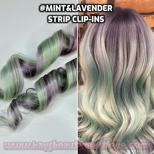100% Human Hair Mint&Lavender SET Strip Clip-in extensions 1pc