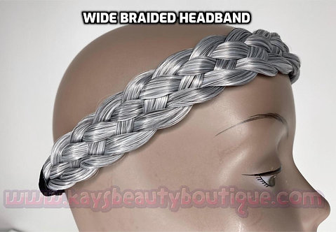 #Salt&Pepper/Gray WIDE Braided Headband