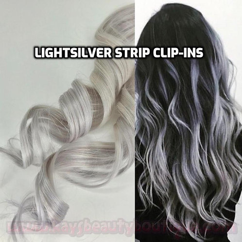 100% Human Hair Light Silver Strip Clip-in extensions 1pc