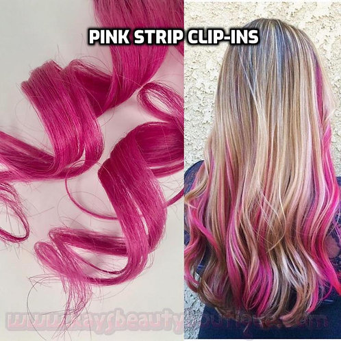 100% Human Hair Pink Strip Clip-in extension