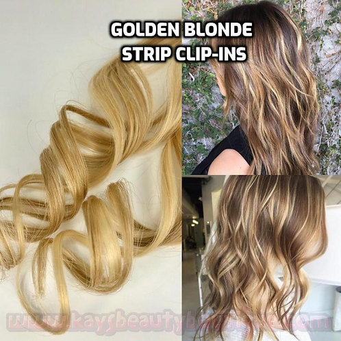 100% Human Hair Golden Blonde Strip Clip-in extensions 1pc