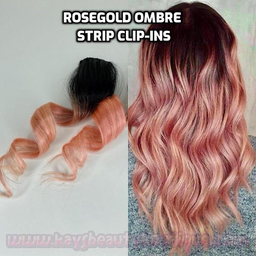 100% Human Hair Rosegold Ombre Strip Clip-in extension