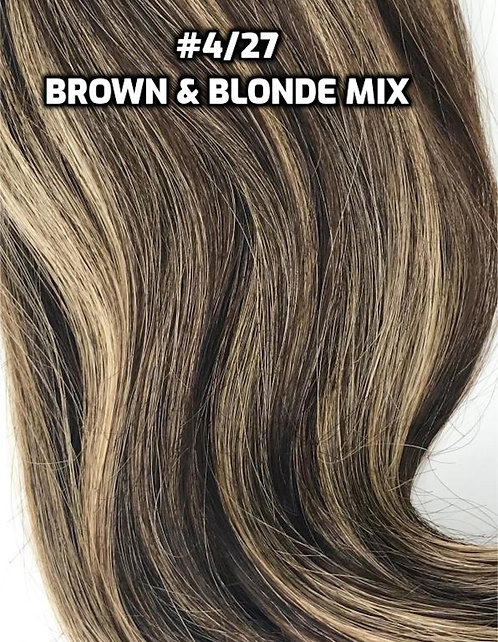 Clip-in #4/27- Medium Brown & Blonde Highlights