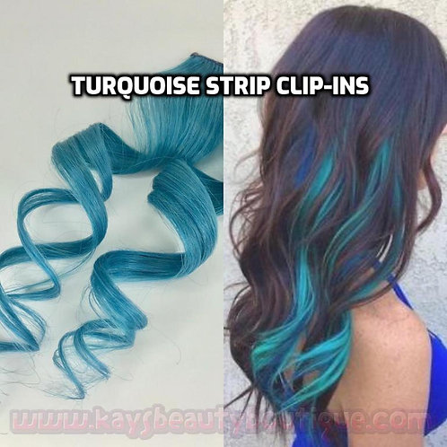 100% Human Hair Bright Turquoise Teal Strip Clip-in extensions 1pc