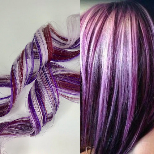 100% Human Hair Lavender Purple Burgundy Red Strip Clip-in extensions streaks 1p