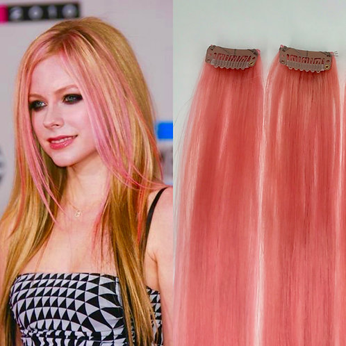 100% Human Hair Hot Pink Strip Clip-in extensions 1pc