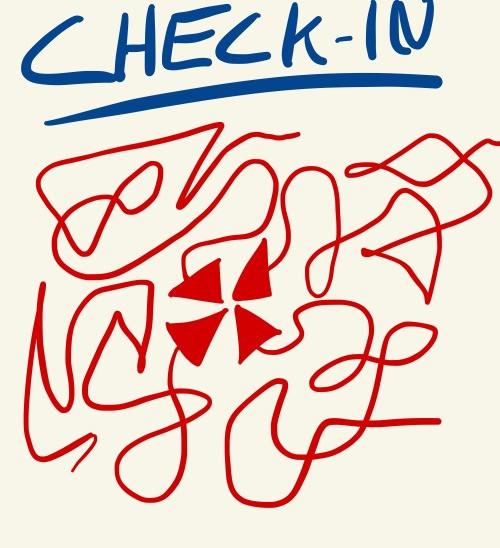 Check In Zeichnung