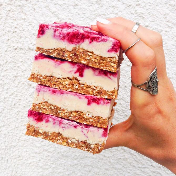 Vegan Raspberry 'Cheesecake' bars