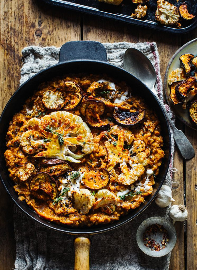 Smokey Lentils with Harissa Roast Cauliflower & Aubergine